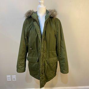 J crew Green Utility Fur Hood Coat size Medium